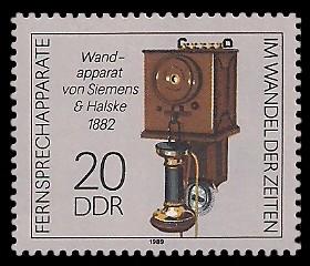 20 Pf Briefmarke: Fernsprechapparate im Wandel der Zeiten, Siemens & Halske Telefon