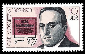 10 Pf Briefmarke: Bedeutende Persönlichkeiten, Carl v. Ossietzky