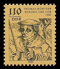 110 Pf Briefmarke: Thomas-Müntzer-Ehrung der DDR 1989