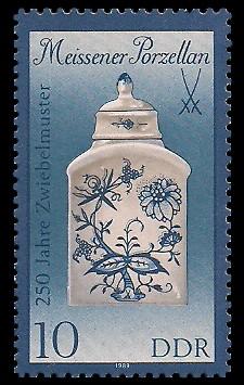 10 Pf Briefmarke: Meissener Porzellan, Teedose (kl. Format)