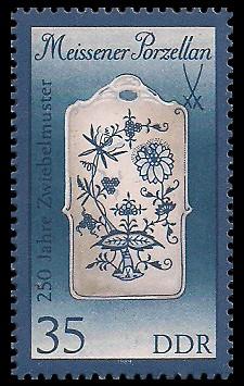 35 Pf Briefmarke: Meissener Porzellan, Stullenbrett (kl. Format)