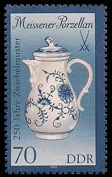 70 Pf Briefmarke: Meissener Porzellan, Kaffeekanne (kl. Format)