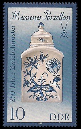 10 Pf Briefmarke: Meissener Porzellan, Teedose (gr. Format)
