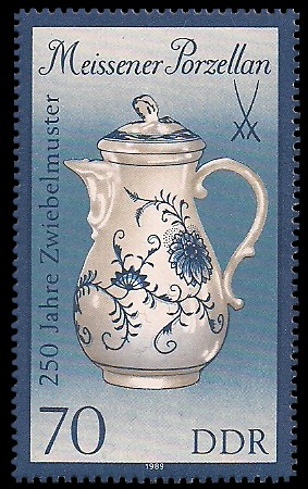 70 Pf Briefmarke: Meissener Porzellan, Kaffeekanne (gr. Format)