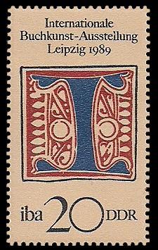 20 Pf Briefmarke: Internationale Buchkunst-Ausstellung, Initial I