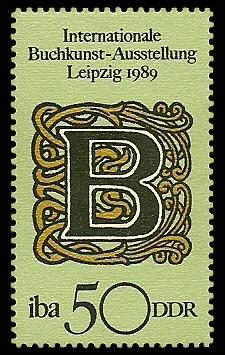 50 Pf Briefmarke: Internationale Buchkunst-Ausstellung, Initial B