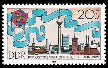20 + 5 Pf Briefmarke: Pfingsttreffen der FDJ, Berlin