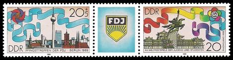 Briefmarke: Pfingsttreffen der FDJ und XIII. Weltfestspiele der Jugend und Studenten