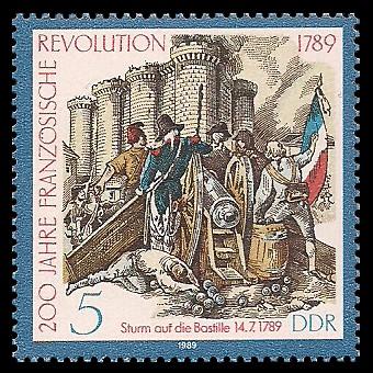 5 Pf Briefmarke: 200 Jahre Französische Revolution, Sturm Bastille