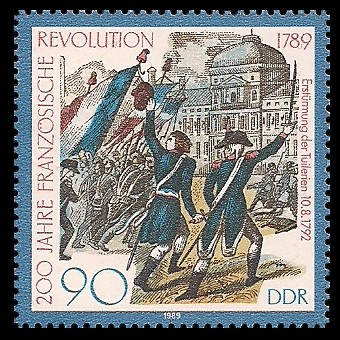 90 Pf Briefmarke: 200 Jahre Französische Revolution, Erstürmung Tuilerien