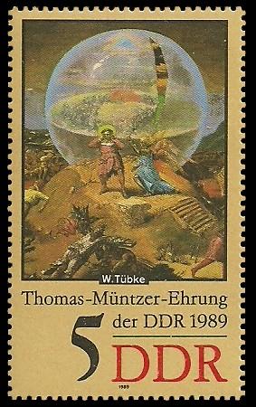 5 Pf Briefmarke: Thomas-Müntzer-Ehrung der DDR, Verkündigung