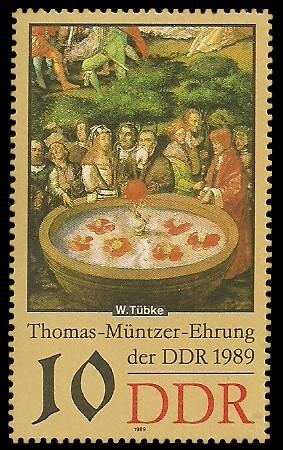 10 Pf Briefmarke: Thomas-Müntzer-Ehrung der DDR, Lebensbrunnen