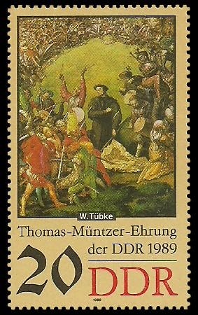 20 Pf Briefmarke: Thomas-Müntzer-Ehrung der DDR, Schlachtfeld