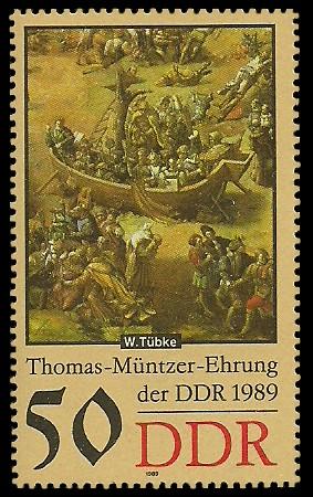 50 Pf Briefmarke: Thomas-Müntzer-Ehrung der DDR, Schiff