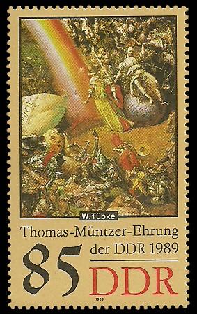 85 Pf Briefmarke: Thomas-Müntzer-Ehrung der DDR, Justitia
