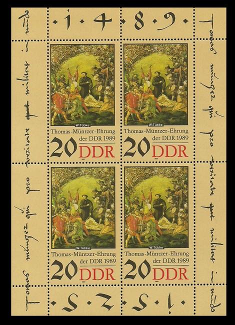 Briefmarke: Kleinbogen - Thomas-Müntzer-Ehrung der DDR