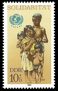 10 + 5 Pf Briefmarke: Solidarität, afrikanische Kinder