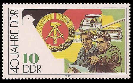 10 Pf Briefmarke: 40 Jahre DDR, Genossenschaftsbauern