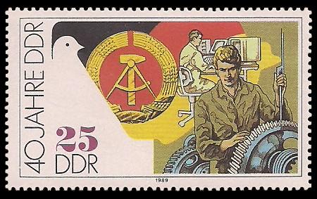 25 Pf Briefmarke: 40 Jahre DDR, Maschinenbau