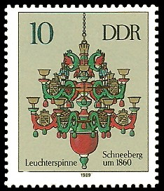 10 Pf Briefmarke: Erzgebirgische Leuchterspinnen, Schneeberg