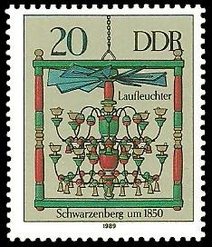 20 Pf Briefmarke: Erzgebirgische Leuchterspinnen, Schwarzenberg
