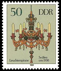50 Pf Briefmarke: Erzgebirgische Leuchterspinnen, Seiffen