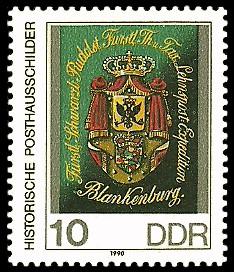 10 Pf Briefmarke: Historische Posthausschilder, Thurn- und Taxissche Lehnspost