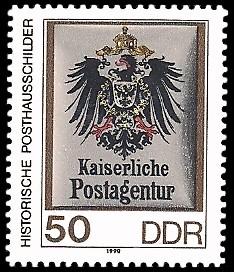 50 Pf Briefmarke: Historische Posthausschilder, Kaiserliche Postagentur