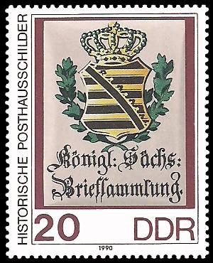 20 Pf Briefmarke: Historische Posthausschilder, Königl. Sächs. Briefsammlung