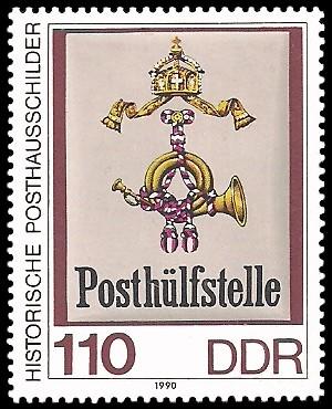 110 Pf Briefmarke: Historische Posthausschilder, Posthülfsstelle