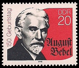 20 Pf Briefmarke: 150. Geburtstag August Bebel