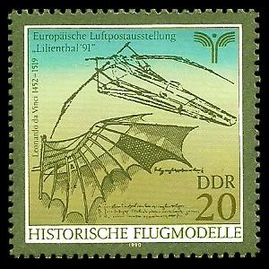20 Pf Briefmarke: Historische Flugmodelle, von Leonardo da Vinci