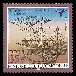 35 + 5 Pf Briefmarke: Historische Flugmodelle, von Melchior Bauer