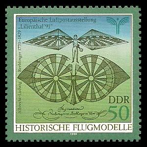 50 Pf Briefmarke: Historische Flugmodelle, von Albrecht-Ludwig Berblinger