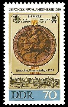 70 Pf Briefmarke: Leipziger Frühjahrsmesse 1990, Siegel von 1268