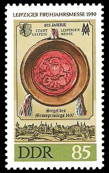 85 Pf Briefmarke: Leipziger Frühjahrsmesse 1990, Siegel von 1497