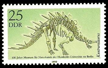 25 Pf Briefmarke: 100 Jahre Museum für Naturkunde, Kentrurosaurus