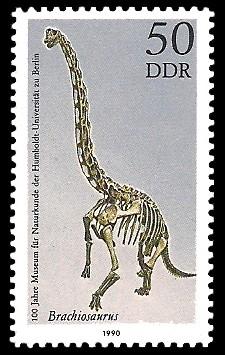 50 Pf Briefmarke: 100 Jahre Museum für Naturkunde, Brachiosaurus