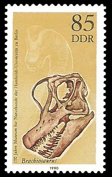 85 Pf Briefmarke: 100 Jahre Museum für Naturkunde, Schädel Brachiosaurus
