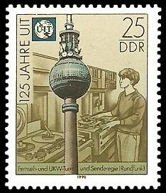25 Pf Briefmarke: 125 Jahre UIT, Berliner Fensehturm