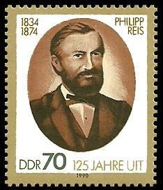 70 Pf Briefmarke: 125 Jahre UIT, Philipp Reis