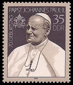 35 Pf Briefmarke: 70. Geburtstag von Papst Johannes Paul II.