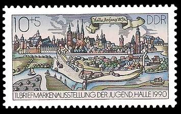 10 + 5 Pf Briefmarke: 11. Briefmarkenausstellung der Jugend in Halle, Halle Anfang 18.Jh.