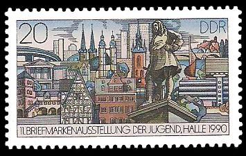 20 Pf Briefmarke: 11. Briefmarkenausstellung der Jugend in Halle, Halle 1990