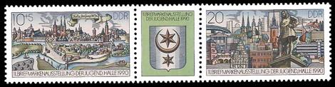 Briefmarke: Dreierstreifen - 11. Briefmarkenausstellung der Jugend in Halle