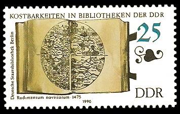 25 Pf Briefmarke: Kostbarkeiten in Bibliotheken der DDR, Rudimentum novitiorum