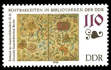 110 Pf Briefmarke: Kostbarkeiten in Bibliotheken der DDR, Amalienbibliothek