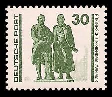30 Pf Briefmarke: Freimarke Bauwerke, Goethe-Schiller-Denkmal