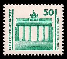 50 Pf Briefmarke: Freimarke Bauwerke, Brandenburger Tor