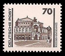 70 Pf Briefmarke: Freimarke Bauwerke, Semperoper